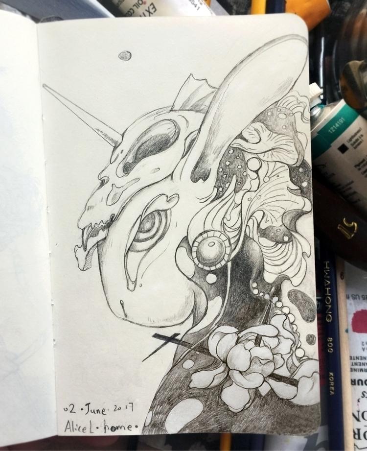 drawing, doodle, rabbit, tgif - alice_lin   ello