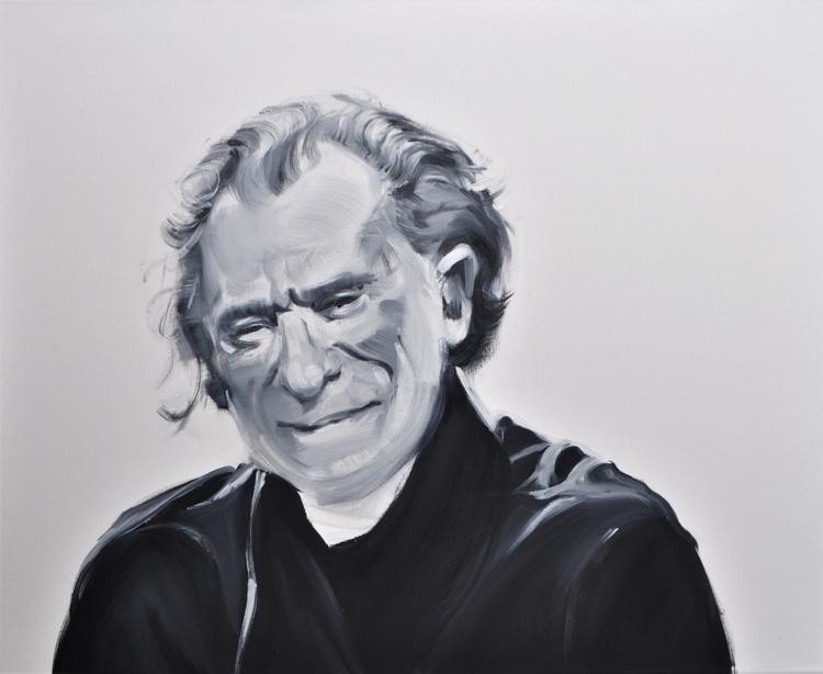 charles bukowski, portrait, oil - judytakrawczyk | ello