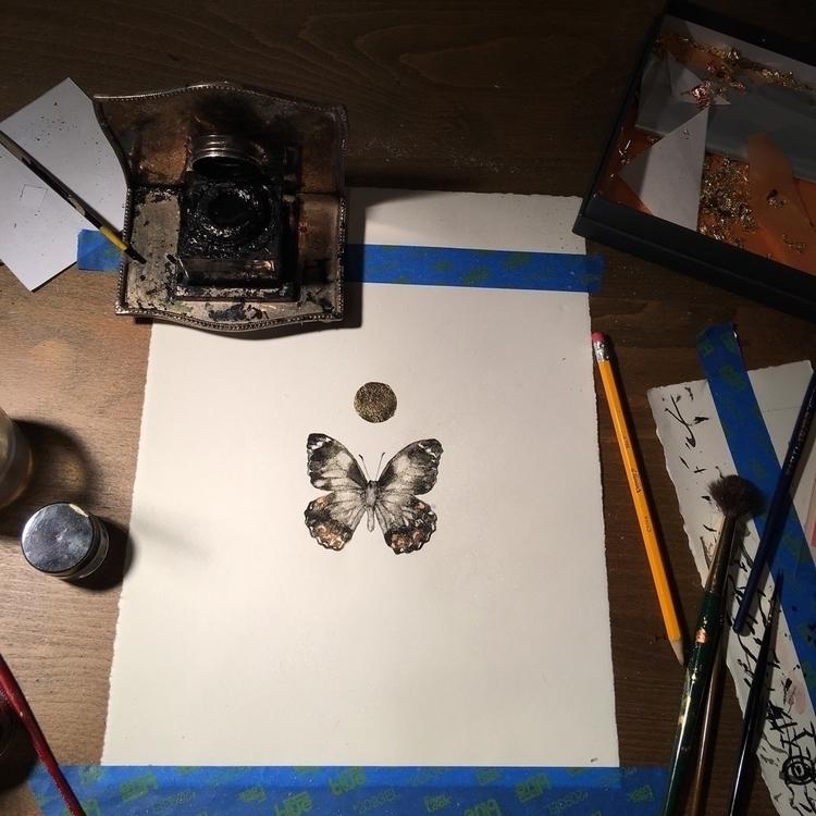 Ink painting gold leaf metallic - alexakarabin | ello