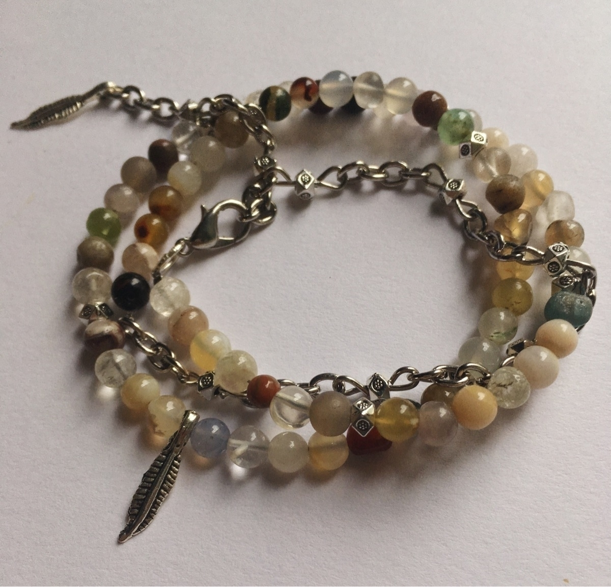 Mini Agate feather charm wrap a - gypsyxjewels | ello