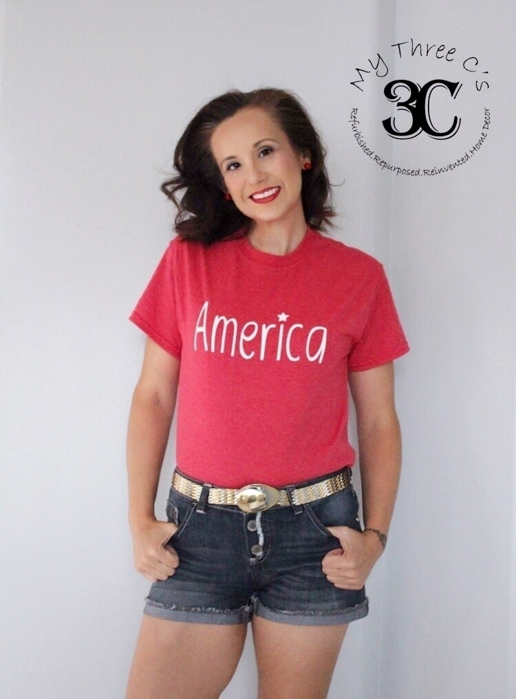 America Tee Heather Red Navy Bl - mythreecs | ello