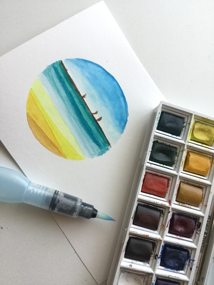 Watercolor beach - art, watercolor - itsxmarina | ello