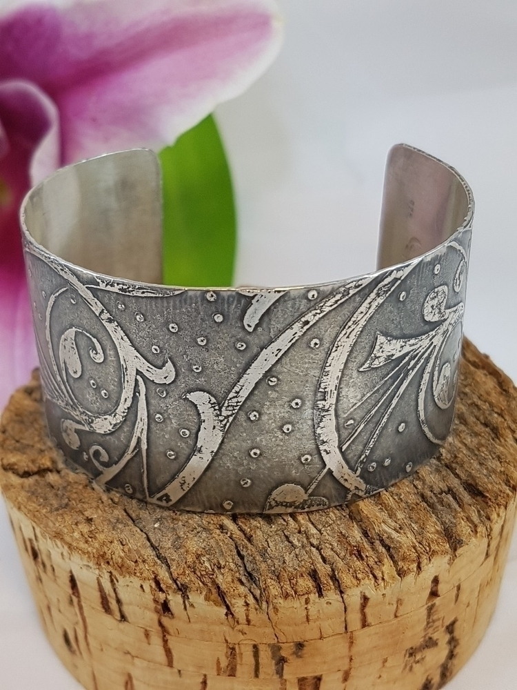 hand etched sterling silver cuf - ateliercrafers | ello
