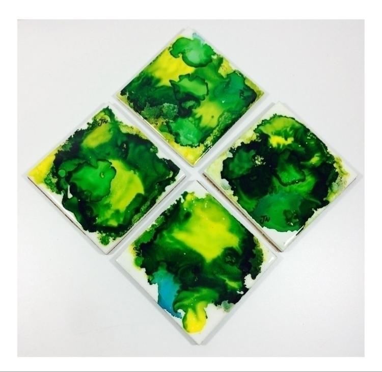 hand painted tile coasters - ateliercrafers | ello