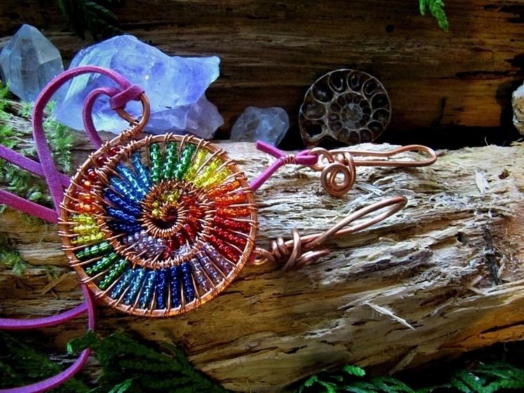 *~ Rainbow Spiral Pendant ~* et - wildmoonchilddesigns | ello