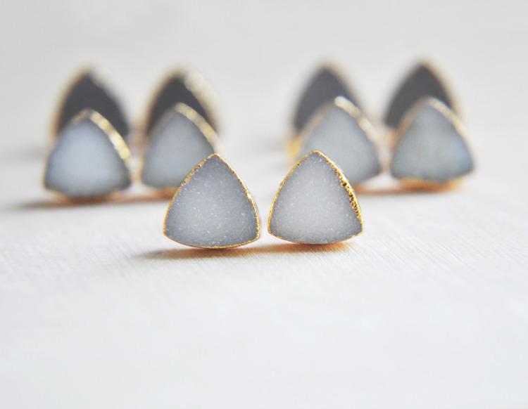 Druzy stud earrings - crystals, crystal - fawinginlove | ello