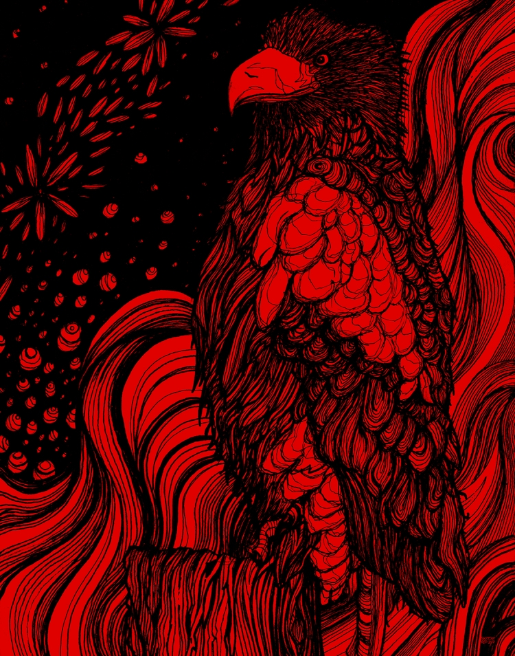 Stellar Sea Eagle - Black Red V - sketchyrep | ello