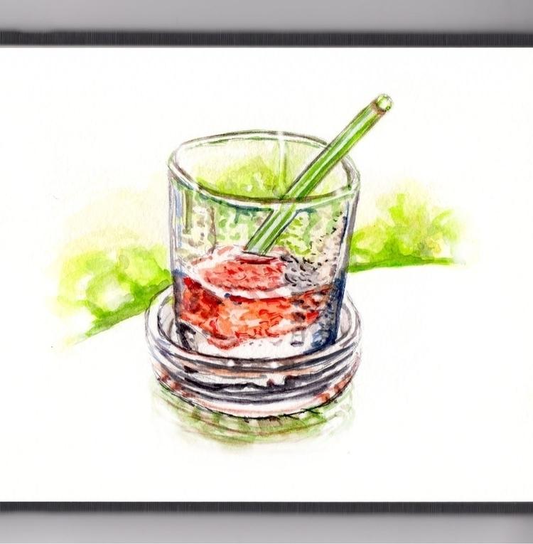 Cold Summer Drink - watercolor, watercolour - doodlewash | ello