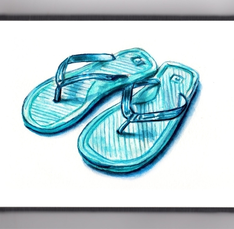 Season Flip-Flops - watercolor, watercolour - doodlewash | ello