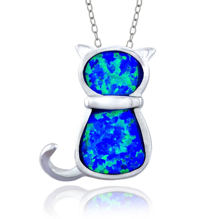 Blue Opal Cat Necklace==&gt - mysuitableshop | ello