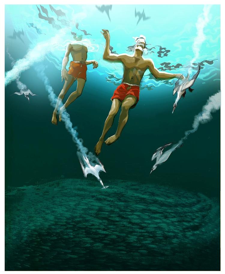 Elements - elements, sea, underwater - alexgreendraws | ello
