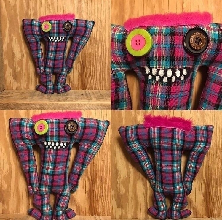 Neon Pink Plaid Tall Monster cu - tykesanimalkingdom | ello