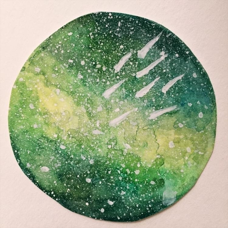 Green rain gratitude 2x2 Waterc - thegalaxyofgratitude | ello
