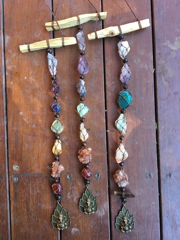 making suncatchers today - macrame#suncatcher#chakra#crystals#ganesha#rainbows#love#magic - mullum_moonflower | ello