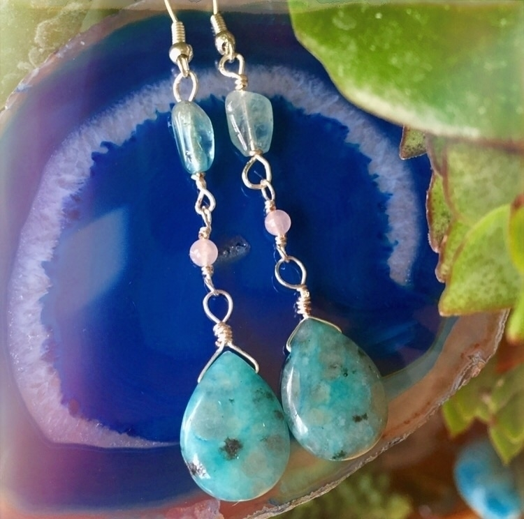 earrings feature Blue Kiwi Jasp - drayajade | ello