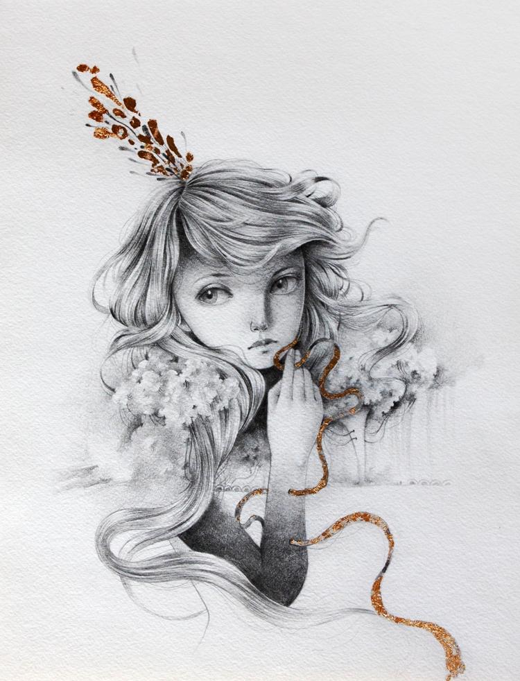 grey skies graphite golden leaf - ania_tomicka | ello