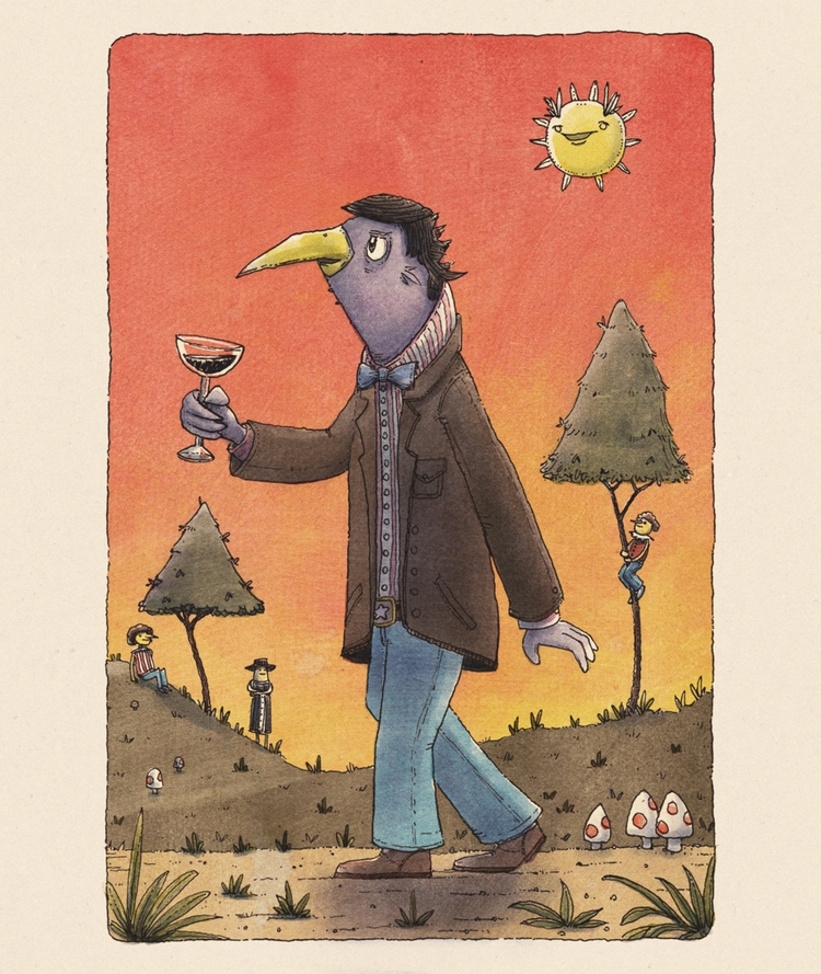 Bird Man walking red sky, dead  - junkyardsam | ello
