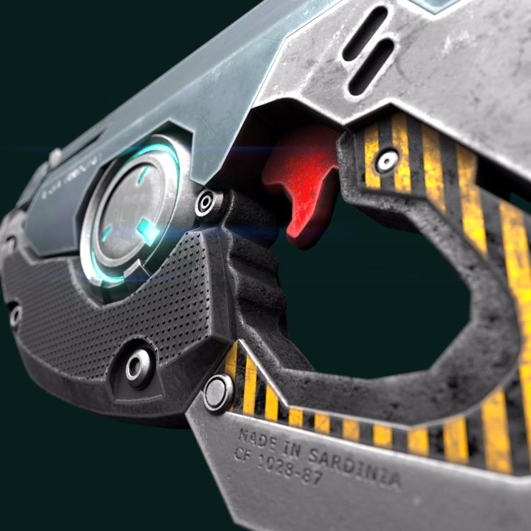 gun, 3D, texturing,  - forcellini | ello