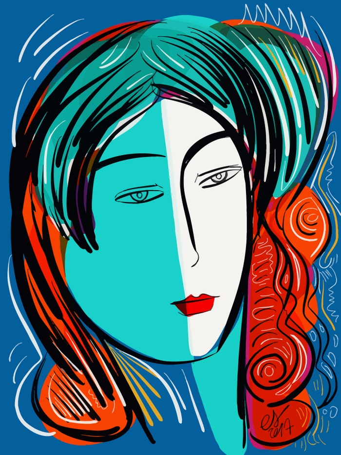 Blue Pop Girl - art, painting, digital - signorino | ello