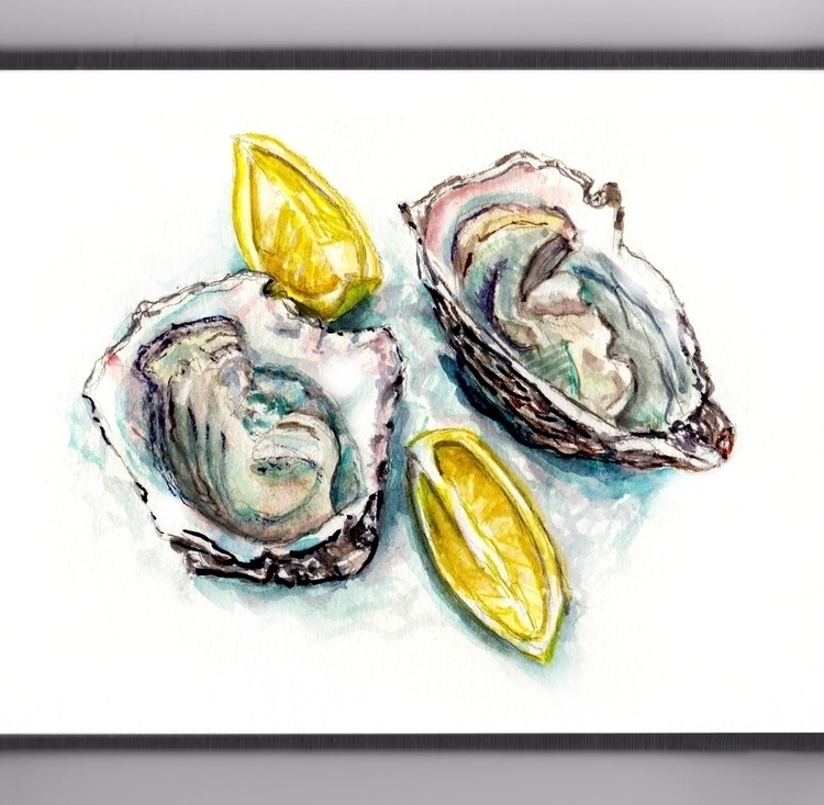 World Oyster - watercolor, watercolour - doodlewash | ello