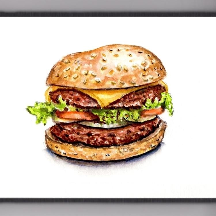 Day Double Cheeseburgers - watercolor - doodlewash | ello