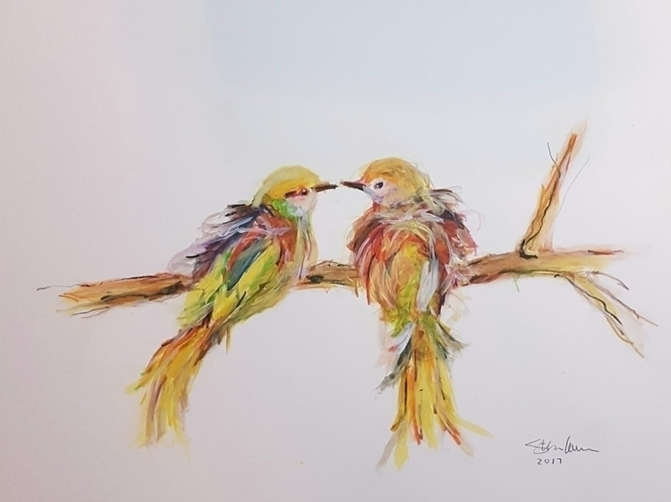 Lovebirds. Painting engagement  - stevenlarson | ello
