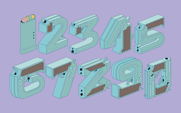 Typography, Numbers, Vector, Illustrator - tomrouleau | ello