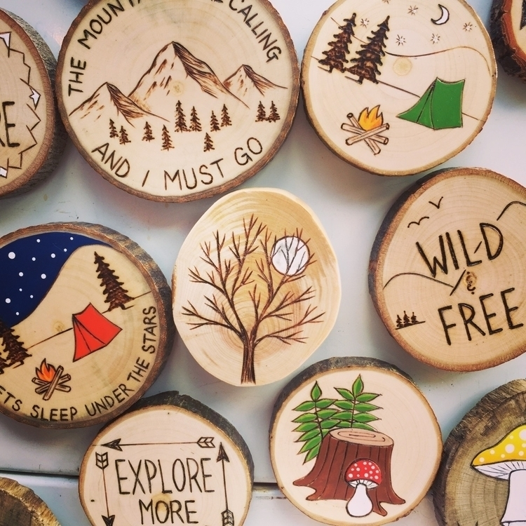 collection wood burned magnets  - forageworkshop | ello