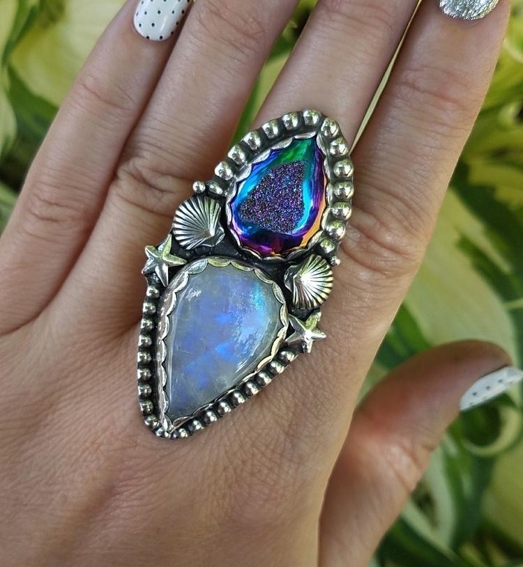 custom rainbow moonstone druzy  - eclecticblingjewelry | ello