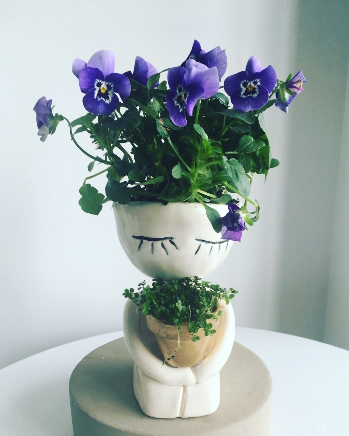 dude pot violet hair - pottery#ceramics#flowers#livingdecortwins#littledudepot - livingdecortwins | ello