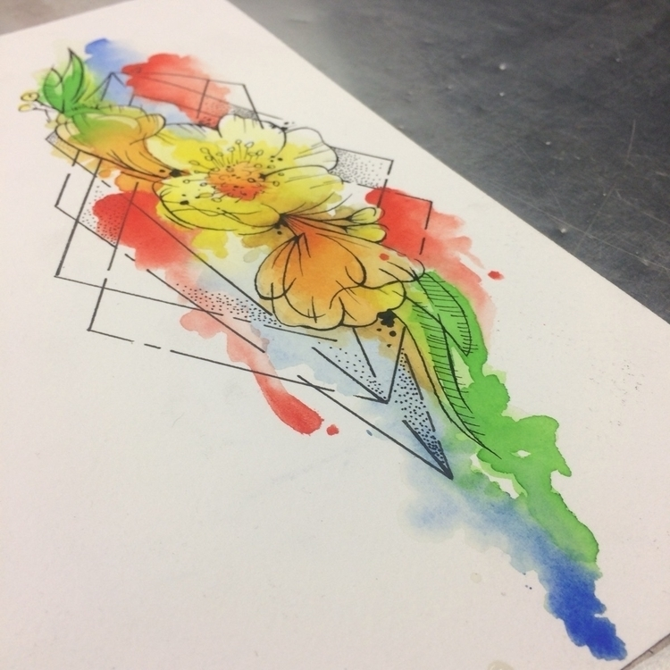 watercolor, buttercup, math, tattoo - levigreenacres | ello