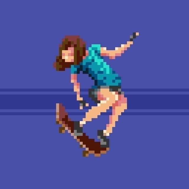 pixelart skateboarder image. 64 - hivernoir | ello