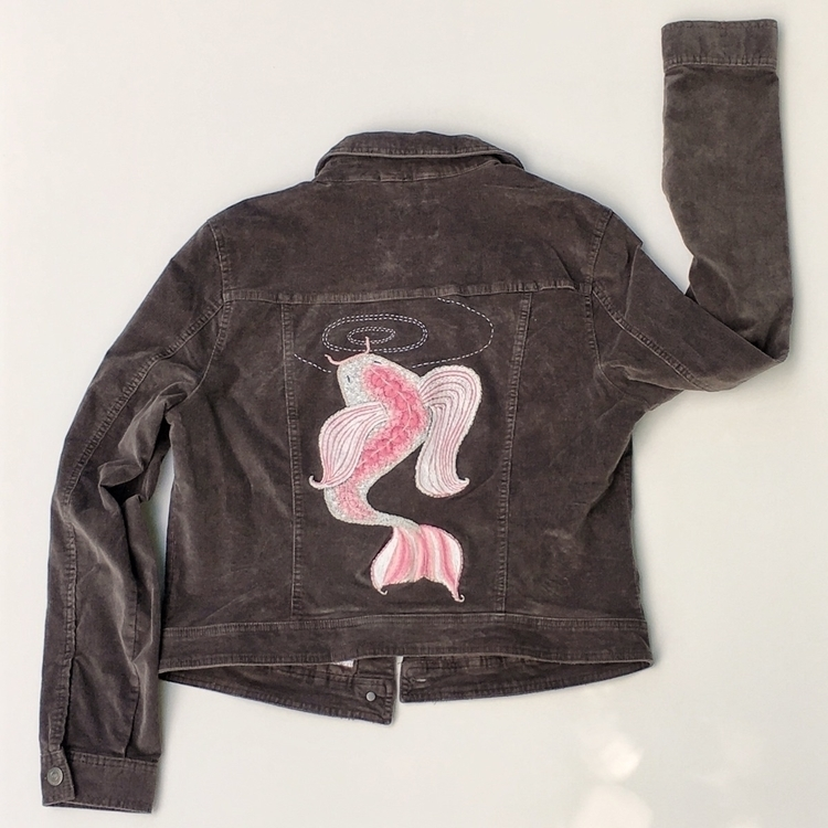 Pink Koi hand embroidered jacke - marysdreamstudio | ello