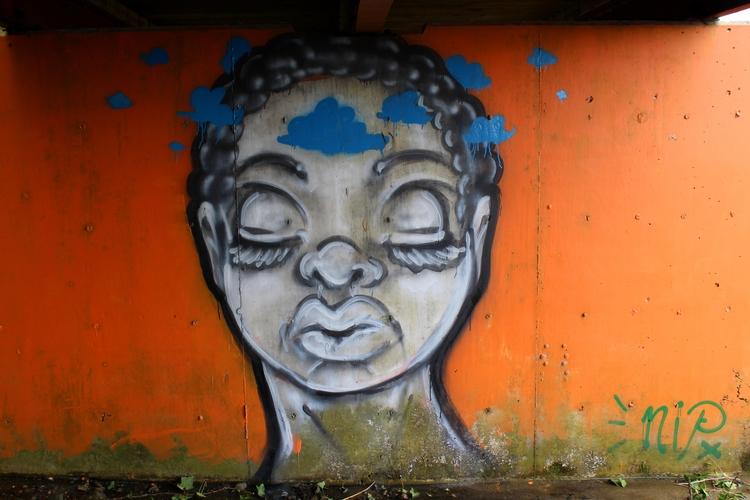 mural, orange, clouds, streetart - lookupcatnip | ello