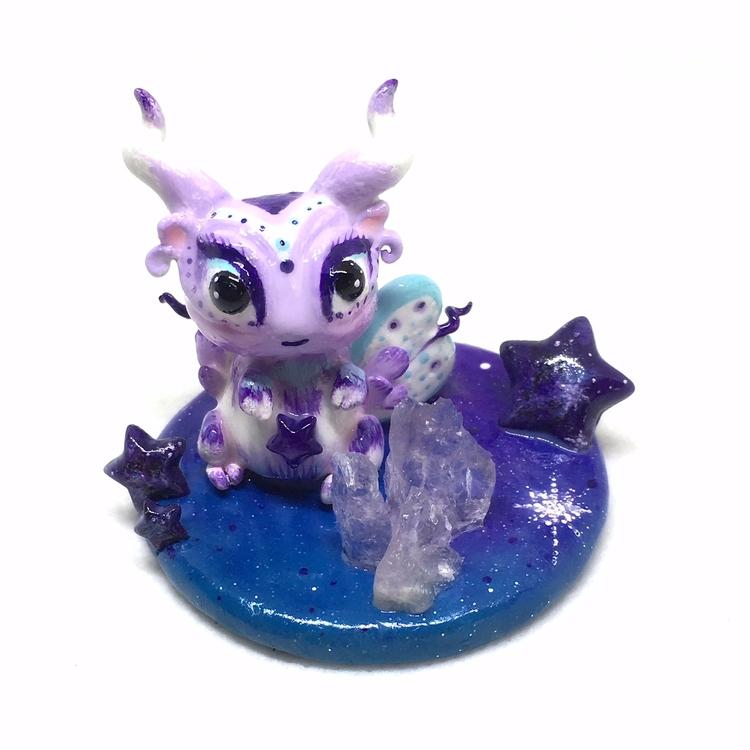 Lil Galaxy Goat - polymerclay, handmade - thespaceyclaycloud | ello