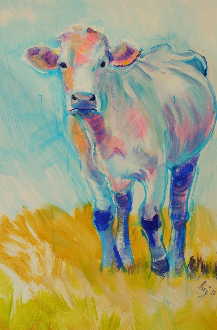 Luminary - painting cow Devon f - artbymikejory | ello