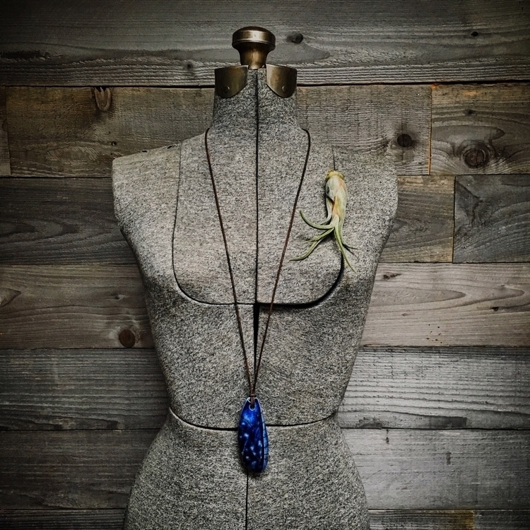 Cobalt blue raku pendant leathe - highyieldstudio | ello