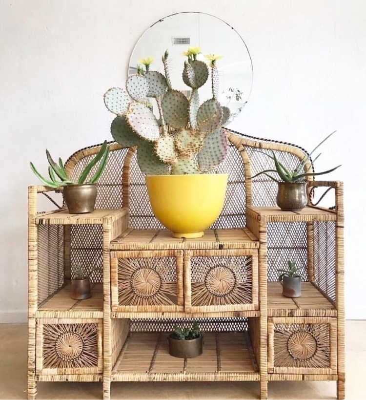 Love wicker shelf - vintage, bohemian - ellothrift | ello