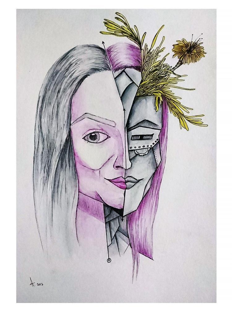 Blown mind Aušrinė - portrait, woman - raudona | ello