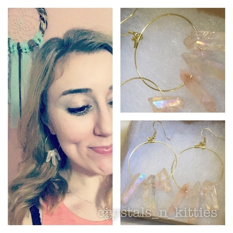 LOVE - earrings, hoops, hoopearrings - crystalsandkitties | ello