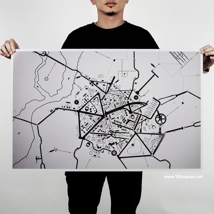 Design 13 - Road Map window. Wa - 100copies_bicycle_art | ello