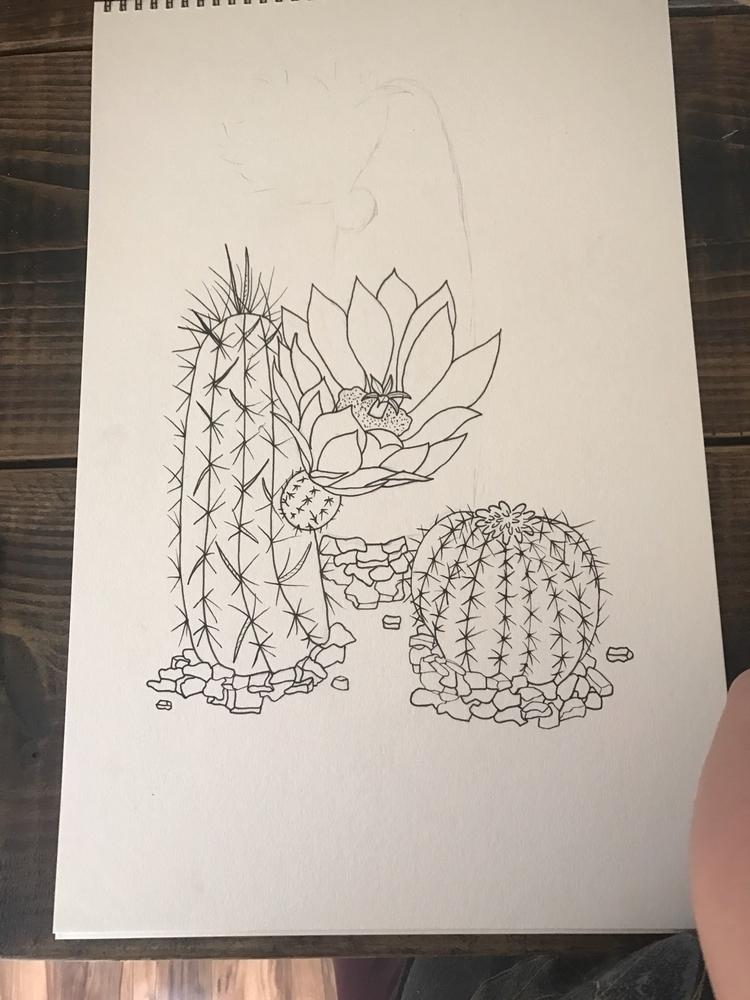 Workin - cacti, pigmamicron, art - wildflowerramblings | ello