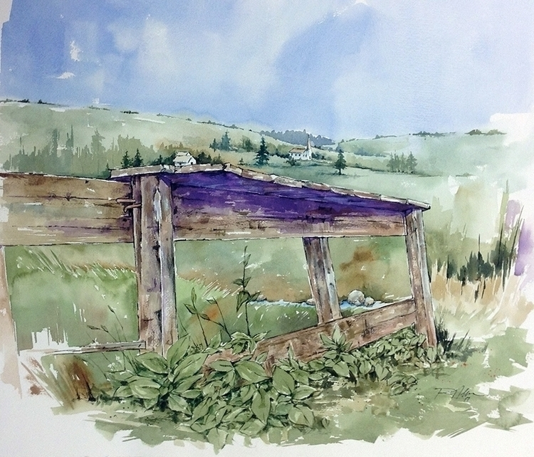Scottish Fence, Watercolor - rlnelsonmo | ello