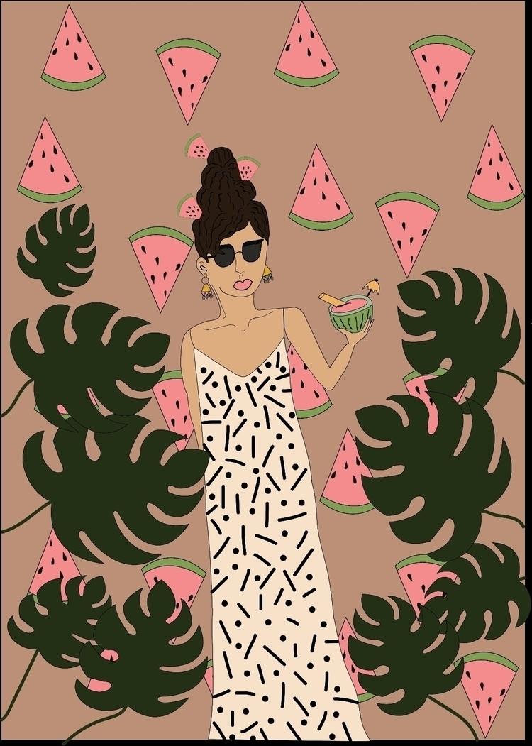 watermelon, girl, woman, plant - efstathia_   ello
