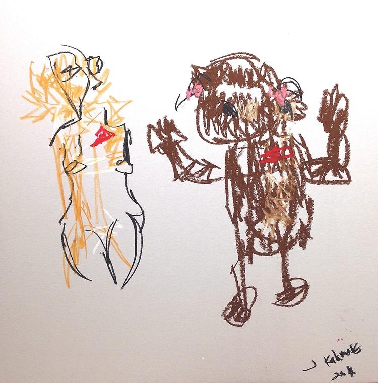 Woman Bear, 2016 | chalk charco - jkalamarz | ello