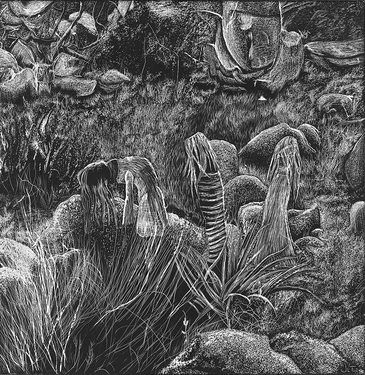 Weary, 12x12 scratchboard - illustration - jtiedemann | ello