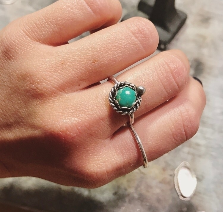 Turquoise custom stacker ring h - mysticvalleyjewelry | ello