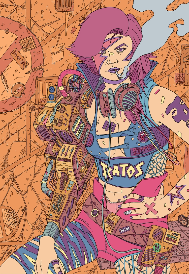 Punk 2087 - illustration, drawing - jferreirastudio | ello