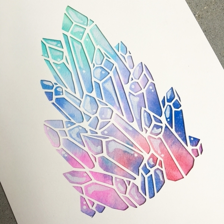 Paper cut crystals watercolor - danielleboinayart | ello