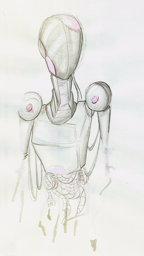 Fading - watercolor, pen, robot - lewm | ello
